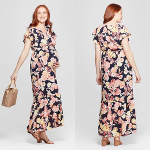 Isabel Maternity Floral Flutter Sleeve Maxi Dress